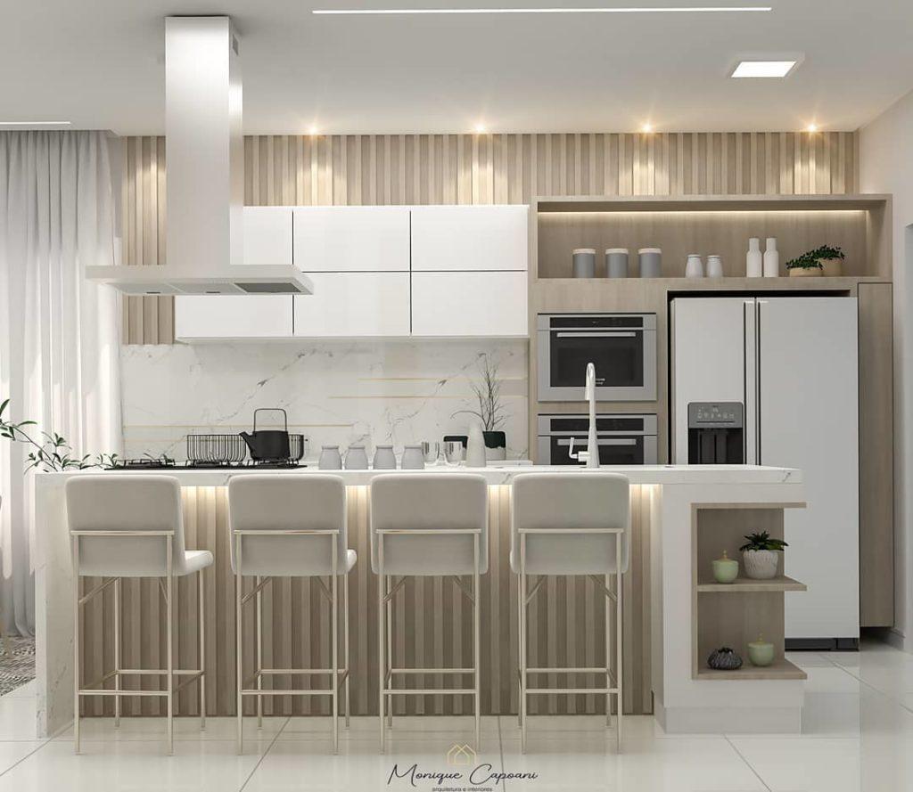 Cozinha americana moderna e muito elegante.