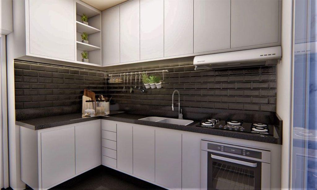 Nesta cozinha o espaço foi muito bem aproveitado e não falta arrumação.