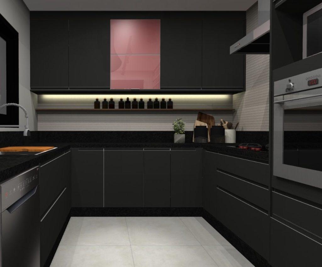 Cozinha muito elegante em preto.