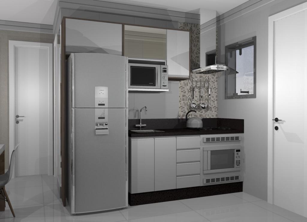 Cozinha planejada pequena e muito elegante.