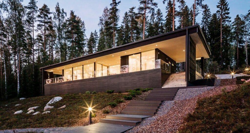 Casa pré-fabricada de madeira moderna