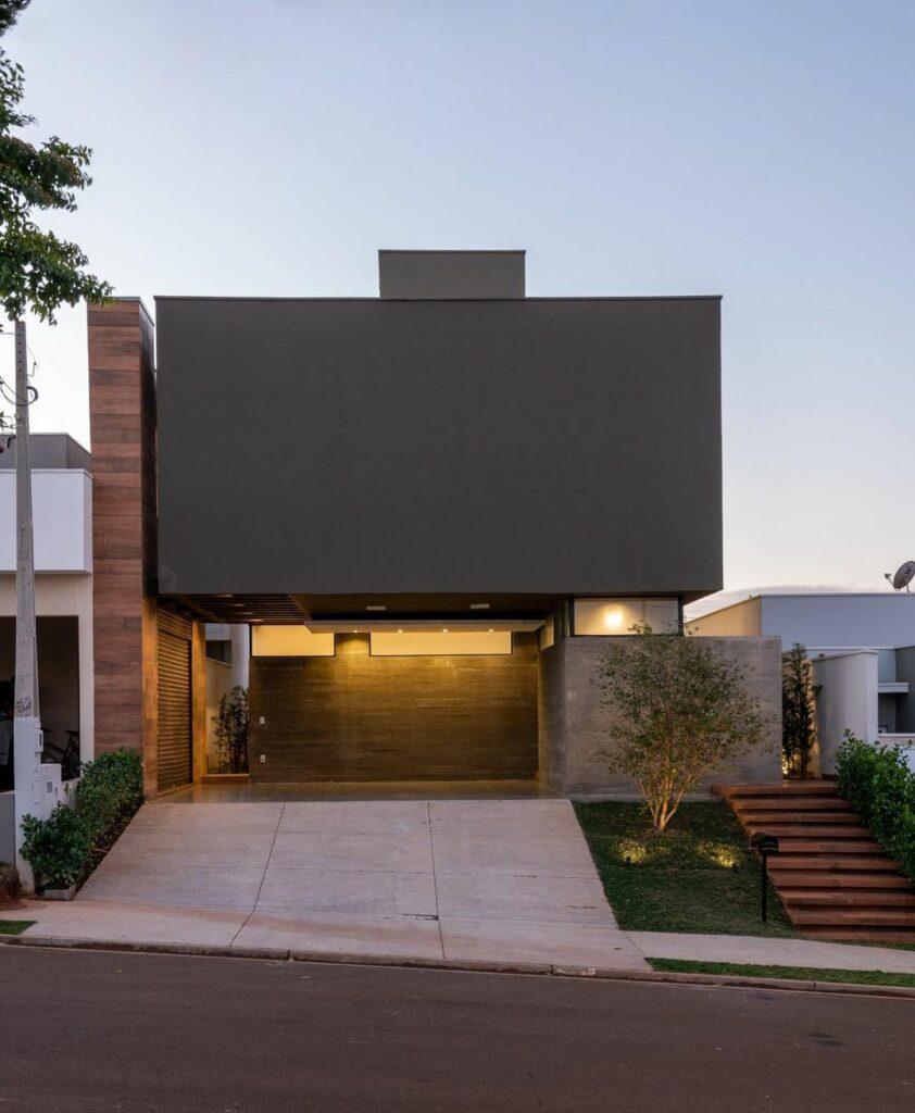 fachada de casa moderna em preto