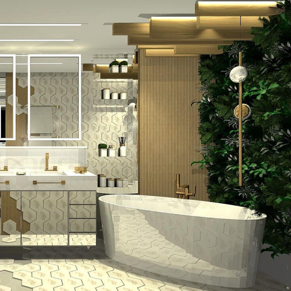 Modelo de banheiro moderno com decoração arrojada