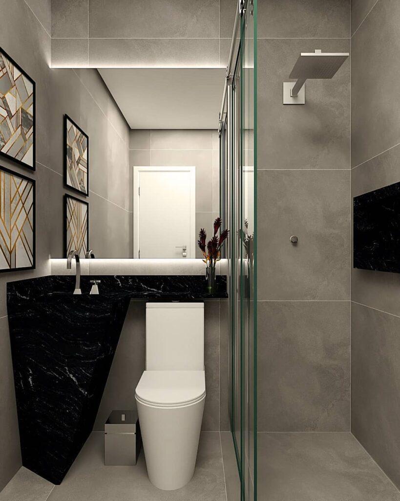 Modelo de banheiro pequeno com pia de formato original