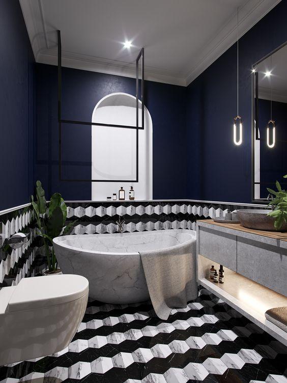 banheiro moderno com revestimento em 3D
