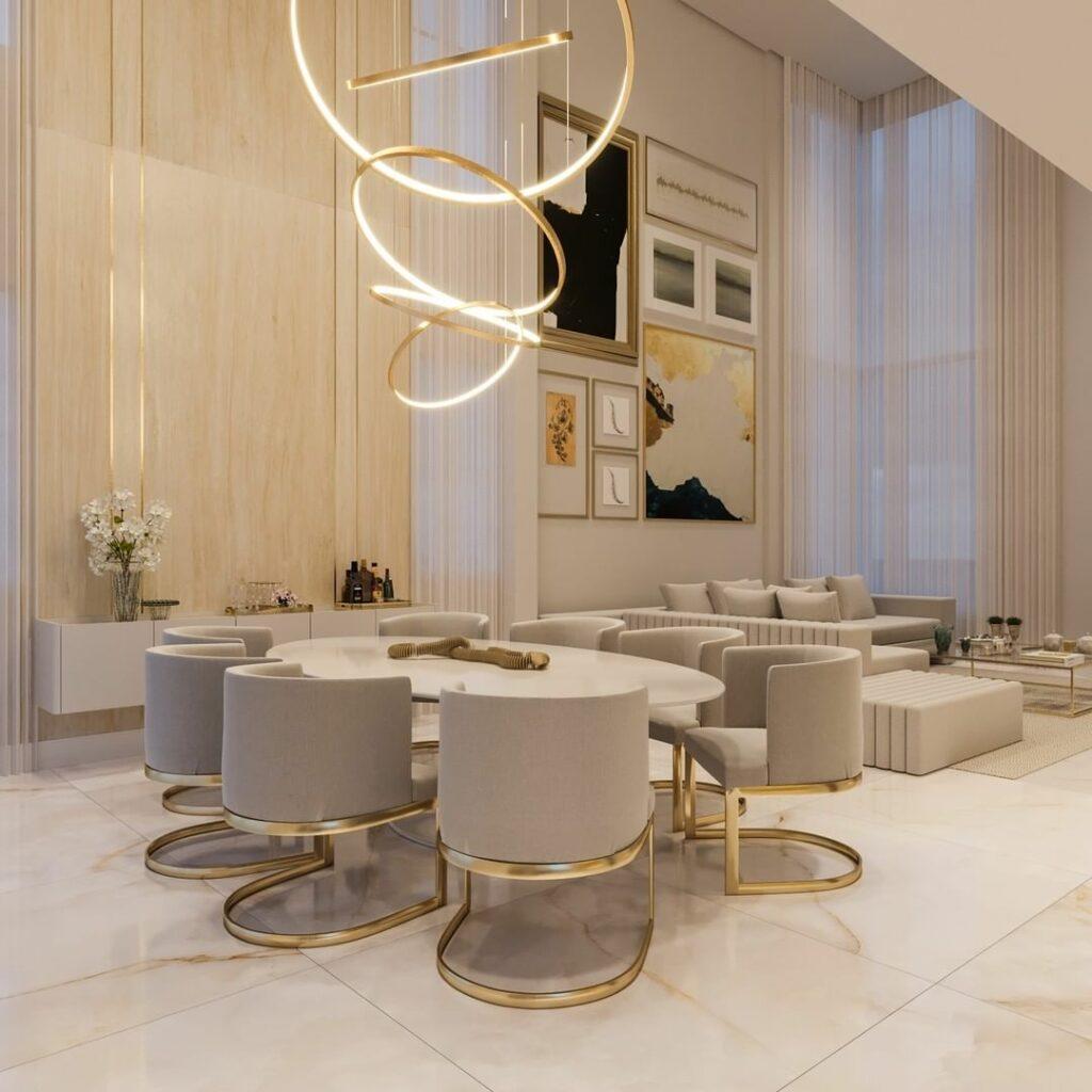 sala de jantar moderna decorada